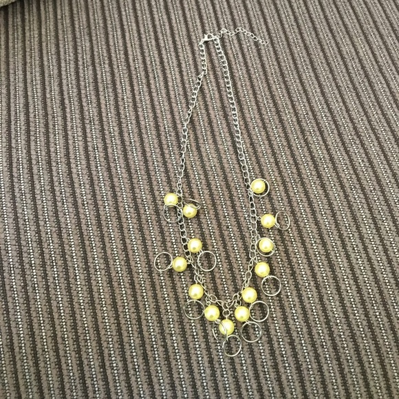Yellow silver dangle necklace